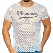 es collection open large mesh t shirt white large authentic bnwt
