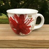 Starbucks Coffee Mug Cup 14 Oz Red Gold Ceramic Poinsettia Floral Christmas 2014
