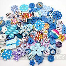 50PCS Blue Mixed By Random Cartoon Wood Resin Button Craft Decoration 6-33mm