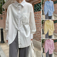 Plus Size Women Tunic Button Up Shirt Ladies Collared Long Sleeve Tops Blouse UK