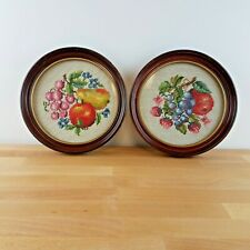 Vintage Fruit & Flower Needlepoint Wall Hangings in Round Frames