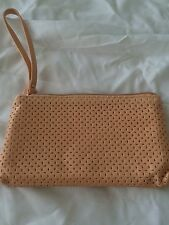 Laura Geller Apricot Beige cosmetics bag with Wristlet NEW perforated + lining