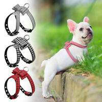 Grid Small Dog Harness Strap Bowknot Pet Puppy Vest Adjustable French Bulldog
