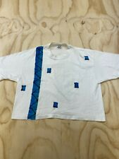VTG ANVIL WOMEN OSFA HAND PAINTED CROPPED SINGLE STITCH T-SHIRT MADE IN USA EUC