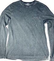 Gramicci Men's XL Long Sleeve Pocket T Shirt Gray Faded Grunge Hemp Blend