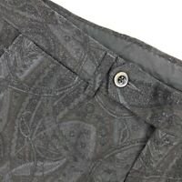 Etro Milano Men's Paisley Velvet Dress Pants Flat Front Gray • 32 x 25