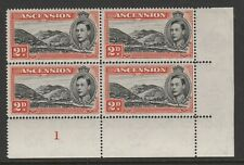 Ascension 1938-53 George VI 2d Black and red-orange Plate block SG 41b Mnh.