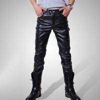 New Men's Casual Trousers Fashion Locomotive Pants Black Pu Leather Boots Pants