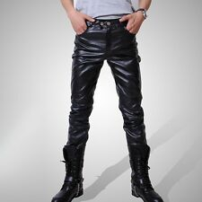 New Men's Casual Trousers Fashion Locomotive Pants Black Pu Leather Boots Pants