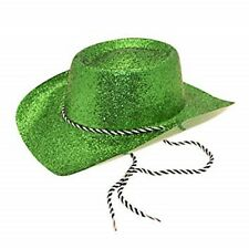 Cowboy Glitter Party Hat With Cord Perfect Costume Jazz  Fancy Dress - GREEN