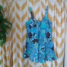 Paradise Bay Woman Plus Size 18 Modest Blue Floral Swim Dress Bathing Suit