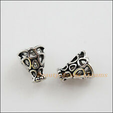 15Pcs Tibetan Silver Tone Hollow Speaker End Bead Caps Craft DIY 7.5x9mm