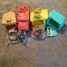 • Lot of 7 Flintstones in wheel cars  & town buildings McDonald's 3 Vehicles New