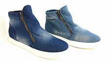 GIRLS & LADIES HIGH TOP ZIP UP ANKLE TRAINERS BOOTS SHOES IN DENIM  RIP OFF DESI