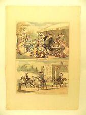 c1790 Rowlandson Bunbury Cambridge Pair Antique Prints Caricatures Kings College