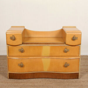 Vintage Art Deco Burr Maple Dressing Chest of Drawers