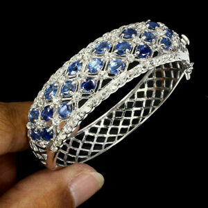 Bangle Blue Kyanite White Topaz Genuine Natural Gems Sterling Silver 6 1/2 Inch