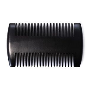 Premium Peigne à Barbe de Poche Noir Bois Santal, Deux Puissances, Antistatique