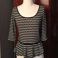 Max Studio Black & White Peplum Top