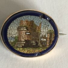 Antiguo 19th Century Micro Mosaico ruina arquitectónico Broche 21mm X 17mm A/F