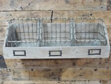 Shabby Industrial Chic Wall Mounted Shelf Unit Baskets Storage Urban Home Decor