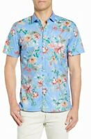 Tori Richard Mens Shirt Blue Size 3XL Button Down Short Sleeve Honolulu $98 #039