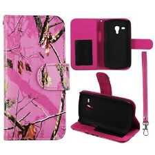 For Samsung Galaxy S3 Mini i8190 Wallet Pu Leather Pink Camo Mozzy Case Cover