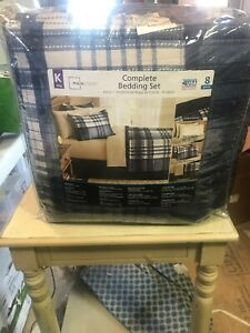 Mainstays Indigo Plaid Bed in a Bag Complete Bedding KING SIZE AND DAMAGED PACKA