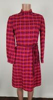 Saks Fifth Avenue Pink Plaid Dress Size 12 Vtg Disco 1960's ILGWU Made