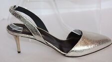 oscar de la renta pamle smoke cracked metallic sling backs 9 m us euro 39