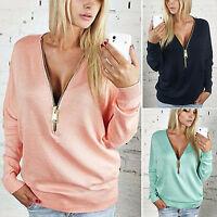 Women's Casual Hoodies Sweatshirt Sexy Zipper V Neck Blouse T-Shirt Sweater Jump