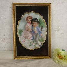 Small Porcelain Wall Plaque Hanging Decoration Bas Relief Bisque Boy and Girl
