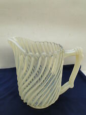 BEATTY GLASS PITCHER EAPG BEATTY SWIRL OPALESCENT RAISED RIB LARGE 7-1/2in TALL