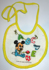 DISNEY BABIES MICKEY MOUSE 1985 TERRY CLOTH TINY INFANT BIB VINYL BACKING