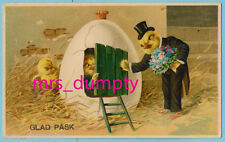 EASTER FANTASY~EARLY Litho~Chicks Gentleman Gives Flowers to Lady in Egg House