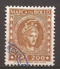 1957 REPUBBLICA MARCA L. 200 DEA ROMA TESTA GRANDE ANNULLATA A TIMBRO E PERFETTA