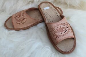 WOMENS LADIES REAL NATURAL GENUINE LEATHER SLIPPERS HIGH QUALITY