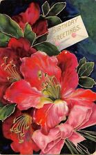 Bright Bold Hot Pink Red Lilies~Pink Bow~Gold Leaf Embossed~Germany 1908