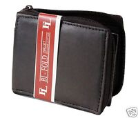 Mens Genuine Leather Bifold Zipper Zip Around Wallet Brown Window ID Credit Card