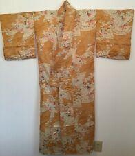 Gold Copper Fan White Floral Vintage Silk Japanese Kimono
