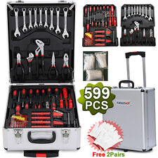 599 PCS Tool Set Mechanic Kit Box Case Organize Castors Toolbox Trolley Keys