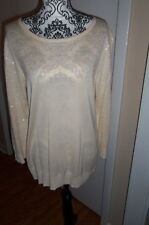 Cupio Size XL Cream Color Sequin Sweater 3/4 sleeves  EUC