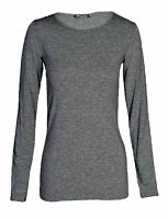 Ladies Womens Plain Short Sleeve & Long Sleeve T-Shirt  Tee Vest Top Size 8-26