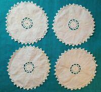 """4 Vintage Cream Round Crochet Linen Embroidered Doily Lot Cut Work Needlework 8"""""""