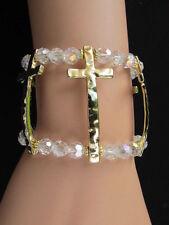 Women Bracelet Fashion Clear Gold Elastic Metal Cross Beads Trendy Jewelry Wide