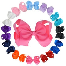 6.5'' Baby Hair Bows For Girls Women Grosgrain Ribbon Boutique bow Clips
