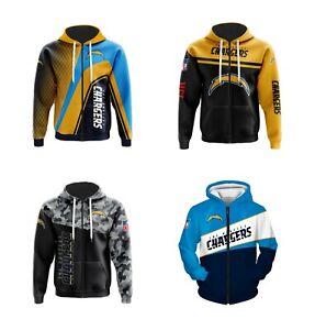 Los Angeles Chargers Fans Hoodie Zip Up Sweatshirt Casual Jacket Sportwear Gift