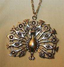 Lacy Openwork Filigree Shiny Silvertone Peacock Feathers Pendant Necklace