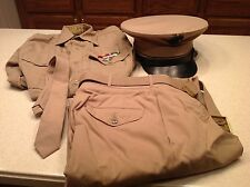 Vintage United States Marine Corp Uniform W/Hat Sharp Shooter Eagle Anchor Pins