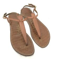SAM EDELMAN Gigi Women's Size 10M Brown Leather T-Strap Thong Flat Sandals